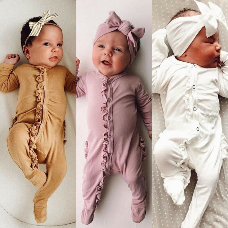 2019 Brand New Style Newborn Baby Girl Boy Floral  Footies  Jumpsuit Headband Outfits Clothes