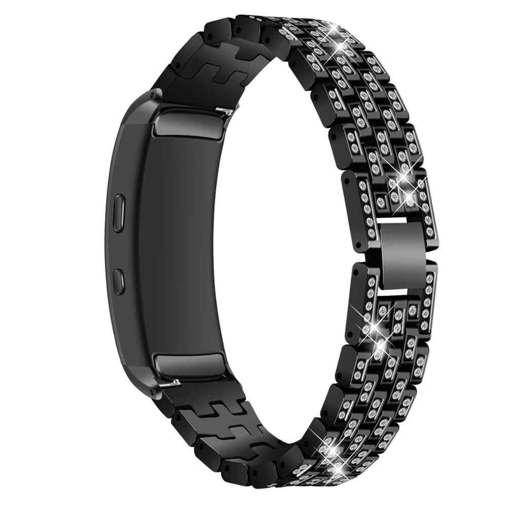 Per Samsung Gear Fit 2 Fit2 Pro SM-R360 Cinturini per Orologi Accessori di Strass di Cristallo Del Diamante in Acciaio Inox Cinturini per Orologi in Metallo