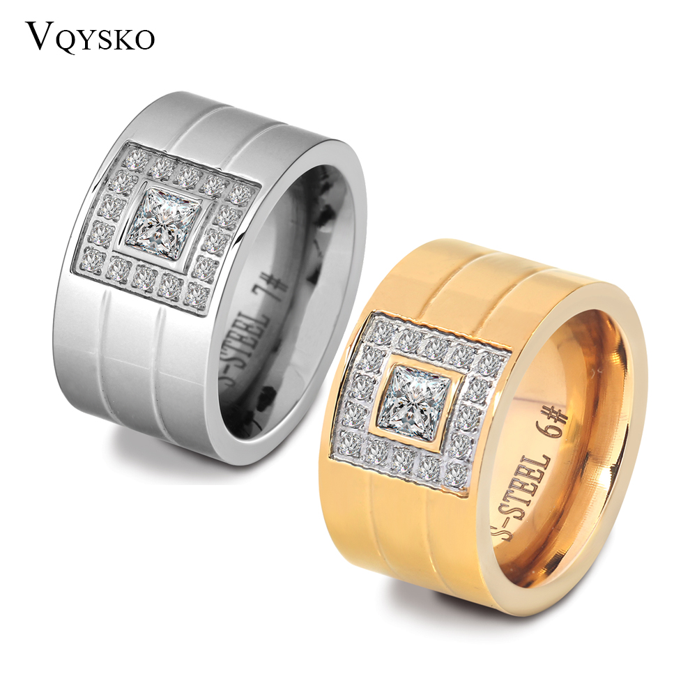 12mm Wide Ring Jewelry Silver Color Stainless Steel White Stone Anillos Rhinestone Women Party Engagement Rings 1