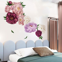 Simulation Peony Wallpaper PVC Removable Wall Sticker Home Decor Bedroom Sticker room decoration wall decor