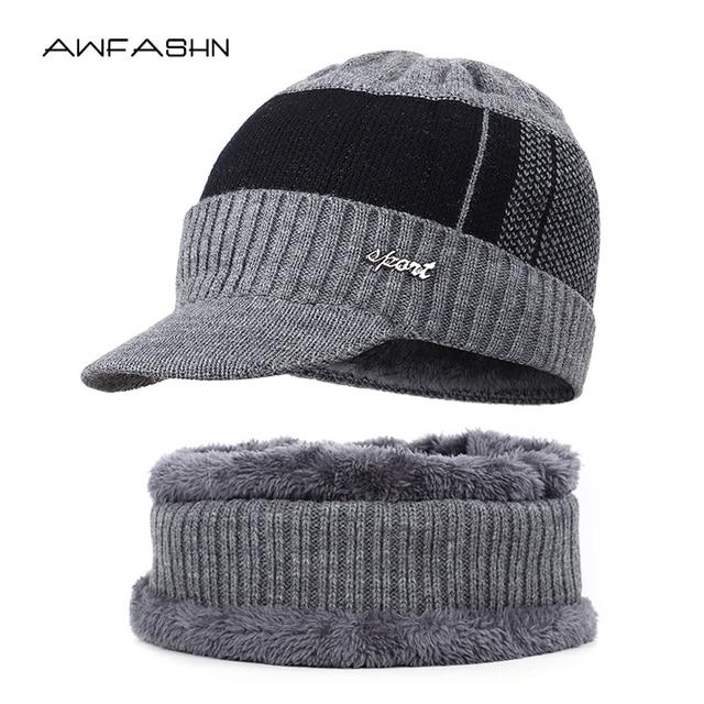 2019 New High Quality Winter Knit Beanie Scarf 2 Pieces Set Thick Lining Plus Velvet Men's Visor Hat Warm Dad Cap Soft Balaclava 1