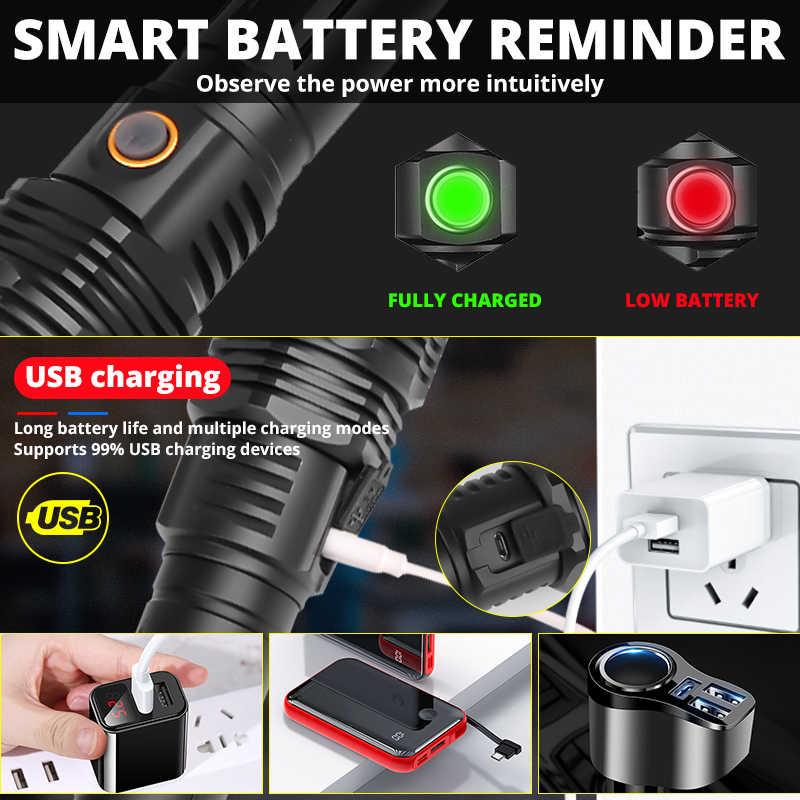 חדש XHP90 18650 פנס LED XHP70.2 זום לפיד 26650 קמפינג מנורת החזק ביותר USB XHP50 טקטי אור חלון בטיחות פטיש