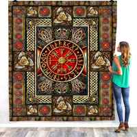 Viking Tattoo 3D Quilt Blanket For Kids Adults Bedding Throw Soft Warm Thin Office Blanket With Cotton Quilt style-10