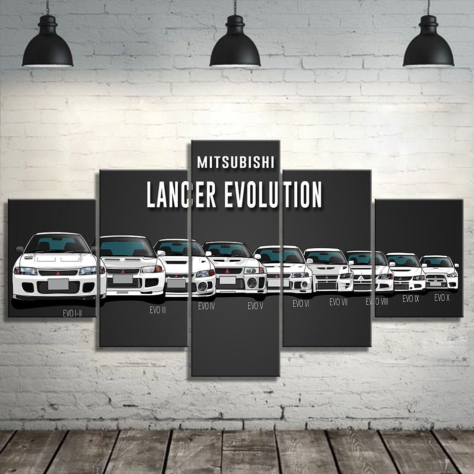 Canvas Painting Print Modular Artwork Modern 5 Pieces Mitsubishi Lancer Evolution Car Pictures Home Decor Wall Art Unique Poster