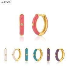 ANDYWEN 925 srebro srebrna róża czerwony Ename Hoops 5 kolory kobiety Piercing Pendientes Ohrringe kolczyk Fine Jewelry kryształ CZ