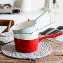 Японский стиль белая эмалированная кастрюля для молока кухонная посуда для варки кастрюля для приготовления пищи кастрюля с длинной ручкой для одного человека