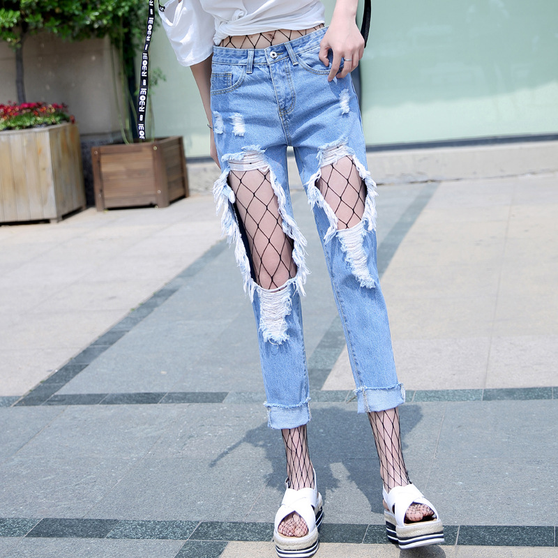 2019 Spring And Autumn Korean New Style Fishnet With Holes Capri Jeans Women's Loose-Fit Casual Large With Holes Skinny Pants Wo