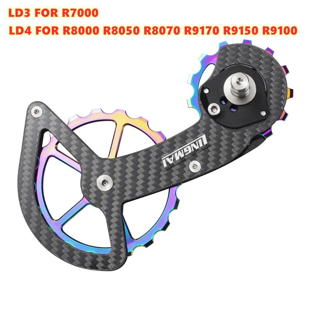 Bicicleta rolamento de cerâmica fibra carbono jockey polia roda conjunto traseira desviadores roda guia para/ultegra/dura ace/105