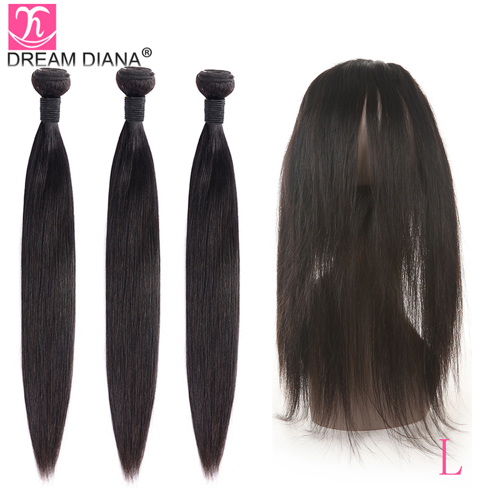 """DreamDiana 12""""-26 L Remy Straight 360 Frontal With Bundles Natural Peruvian Hair 3 Bundles With 360 Lace Closure With Baby Hair"""