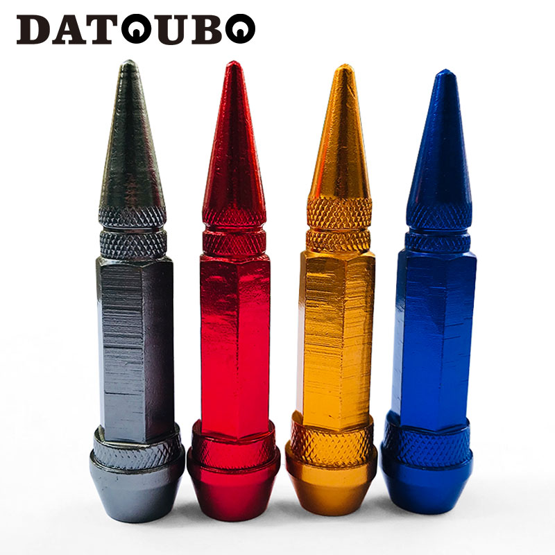DATOUBO 4 Pcs High Quality Aluminium Long Spike Bullet Car Tire Valve Stem And Cap,Motorcycle Tyre Caps Valve Wheel Air Dust