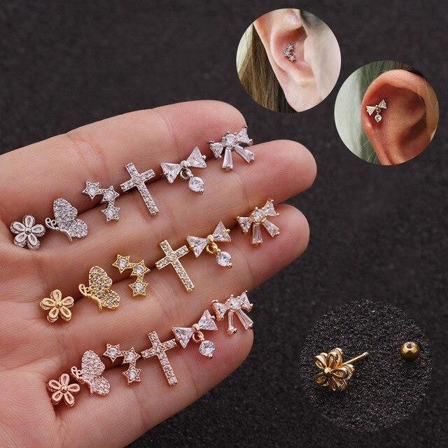 LURUIXU 1 pièce Cz Cartilage boucle doreille en acier inoxydable fleur étoile papillon vis dos boucle doreille goujon hélice Rook conque Piercing bijoux