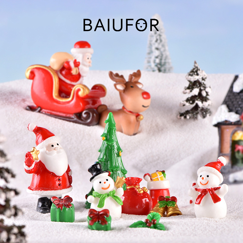 BAIUFOR Christmas Miniature Decor Sled Snowman Terrarium-Figurines Snow-Landscape-Model