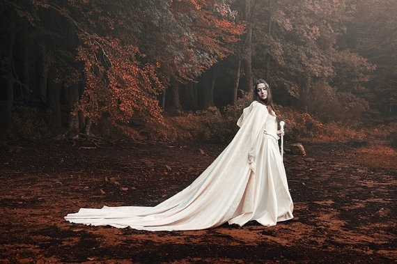 white lvory Long cloak with hood bridal cape Gown cloak Wedding Accessories Jackets  Wraps  white wedding cape satin