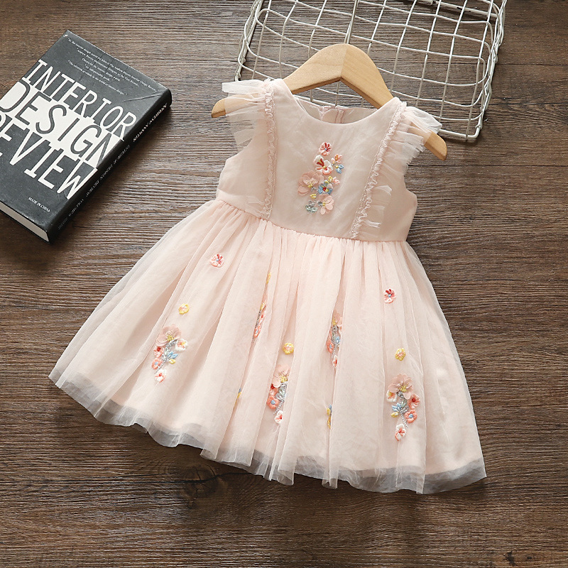 Flowers Embroidery Girls Dresses Party Pageant Dress Girls Kids/Children Dress For Wedding 1-4Y