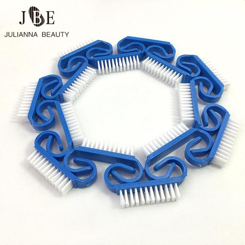 100 pcs azul escova de limpeza do prego dedo cuidados com as unhas poeira limpo lidar