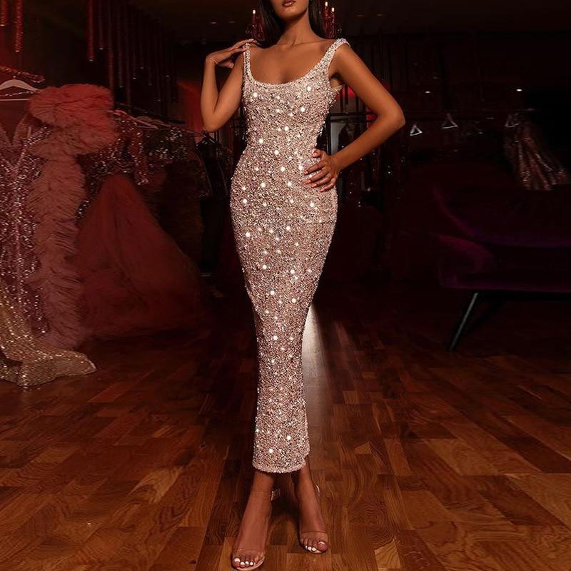 Spring 2022 New Sequin Dress Sleeveless Elegant Dress Amazon Fashion High Waist Dress Women 2039