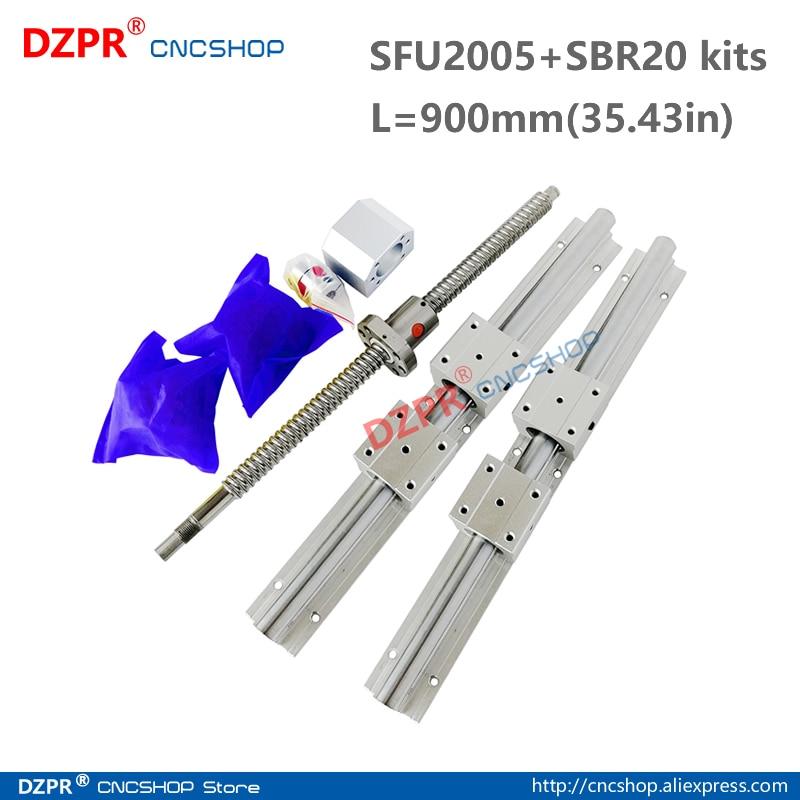 CNC Parts Set SFU2005 900mm 35.43in + SBR20 900mm Rail SBR20UU block BK15/BF15 End Support+RM2005 Nut housing 12mm*8mm coupler