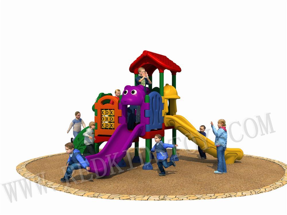 1개의 층계 & 2개의 다채로운 활주를 가진 daycare 플라스틱 운동장