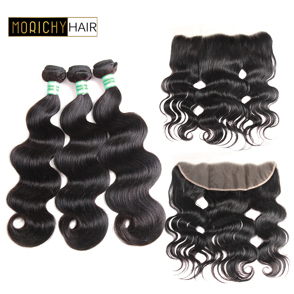 Morichy Brazilian Body Wave Human Hair Bundles With 13x4 Lace Frontal Non-Remy Wavy Lace Front Human Hair Extension Double Drawn