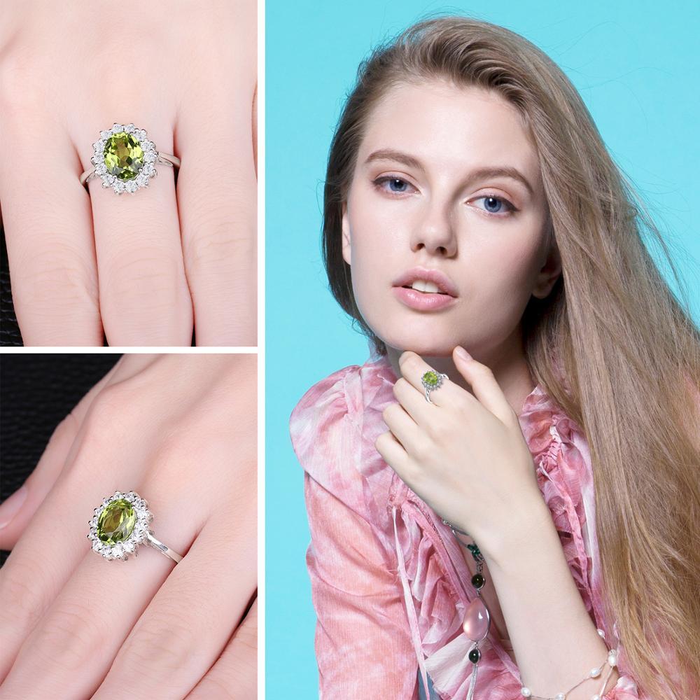 Image 4 - Jewelrypalace 2.74ct Принцесса Диана Уильям Кейт Миддлтон  Натуральный Зеленый Перидот Обручение кольцо стерлингового серебра 925  для Для женщинcharming piggift cameragift wallet