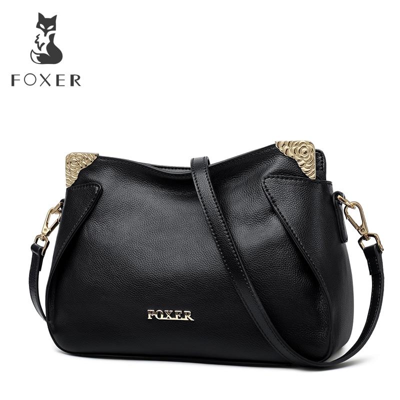 Bolsa para Mulheres de Couro Bolsa do Mensageiro Foxer Marca Feminina Chique Crossbody Genuíno Senhora Estilo Elegante Bolsas Casuais
