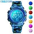 SYNOKE цифровые часы для мальчиков и девочек камуфляжные светодиодные военные детские спортивные часы водонепроницаемые электронные детские...