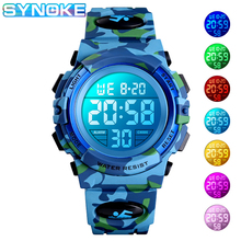 SYNOKE Digital Watch For Boys Girls Camouflage LED Military Kids Sport Watches Waterproof Electronic Children relogio infantil