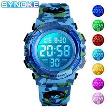 SYNOKE – montre numérique pour garçons et filles, étanche, style militaire, Sport, électronique, pour enfants