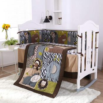7pcs Embroidery Animal Bedding Sets,kit berço baby bed set baby bed set Crib Bed Linen (4bumpers+duvet+bed cover+bed skirt)