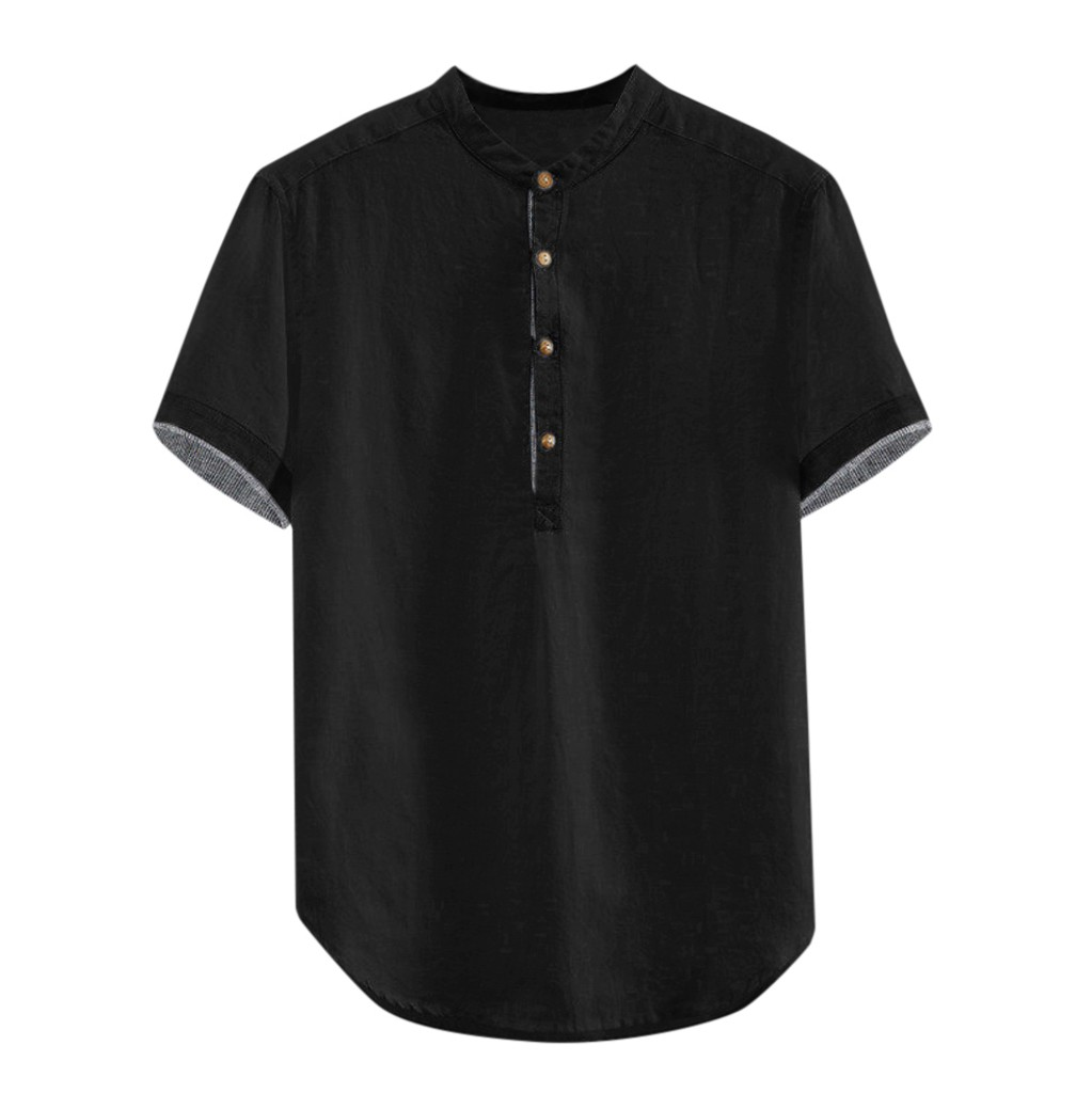 Men's Shirts Baggy Solid Cotton Linen Short Sleeve Button Plus Size Shirt Tops Male Tee Shirt Homme Camiseta Masculina