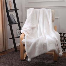 Скандинавские однотонные цветные одеяла для кроватей из овечьей
