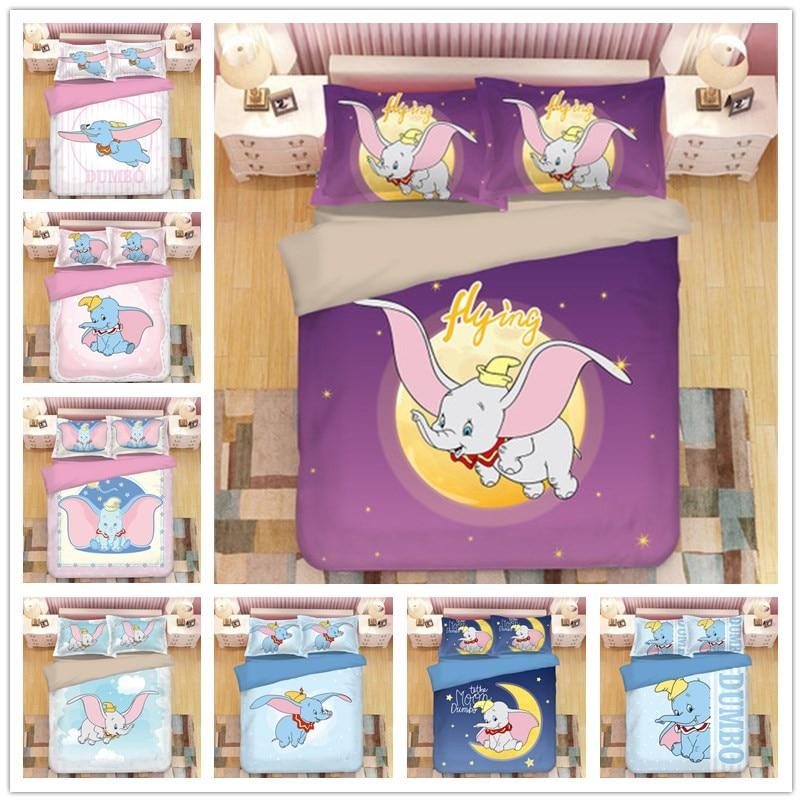 Hot Sale Home Cute Dumbo Bedding Set Cartoon for Children Boys Girl Gift Duvet Cover Pillowcase Single Queen King Size