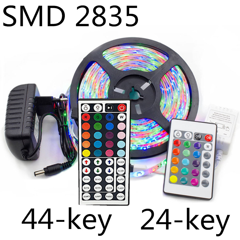 5m 10m 15m LED Strip Light SMD 2835 DC 12V RGB Lights Tape Waterproof Party Neon 5 Meters 300LEDs/roll IR 24/44 Key Control Set