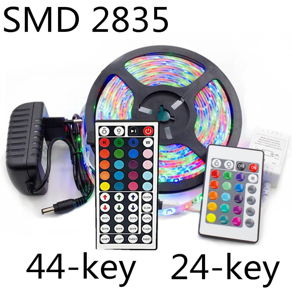 5m 10m 15m LED Strip Light SMD 2835 DC 12V RGB Lights Tape Waterproof Party Neon 5 Meters 300LEDs/roll IR 24/44 Key Control Set
