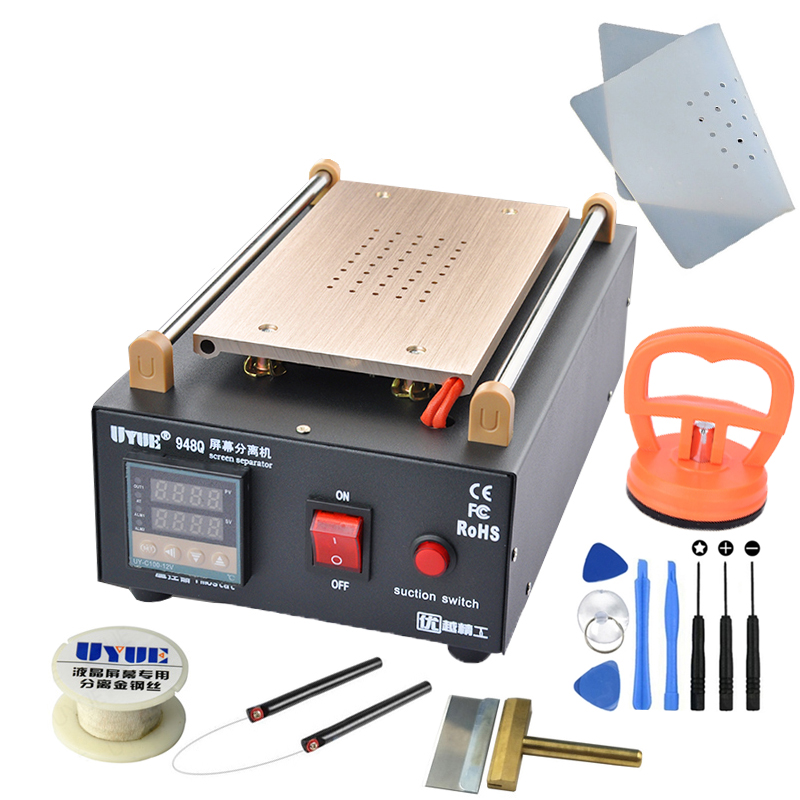 UYUE 948Q Built-in Pump Vacuum Metal Body Glass LCD Screen Separator Machine Max 7 Inches + Cutting Wire 100M With Silicone Mat
