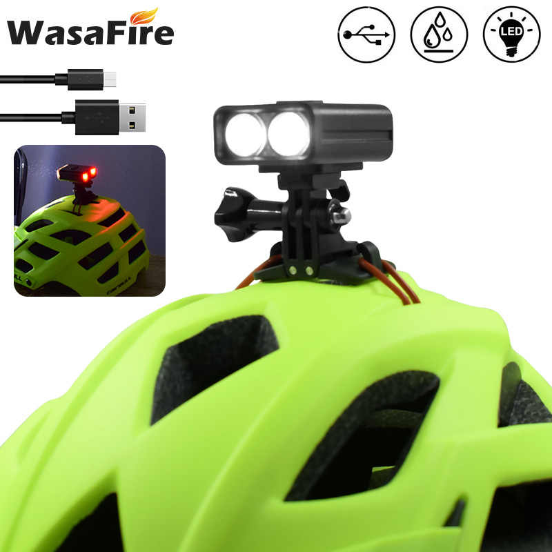 Bike Helmet Warning Light Duplex Integrates Both Headlight USB Recharge Clip on