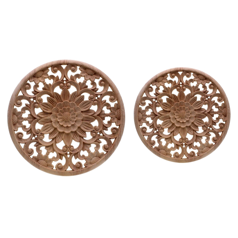 2Pcs Carved Flower Carving Round Wood Appliques For Furniture Cabinet Unpainted Wooden Mouldings Decal Decorative Figurine - 15X