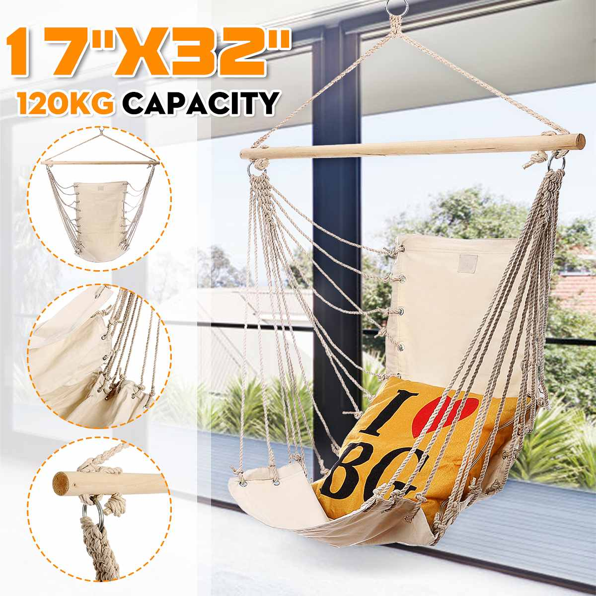 Outdoor Garden Hanging Hammock Chair Camping Single Swing Seat Relaxing Furniture For Child Adult Swinging Safety Chair|  - title=