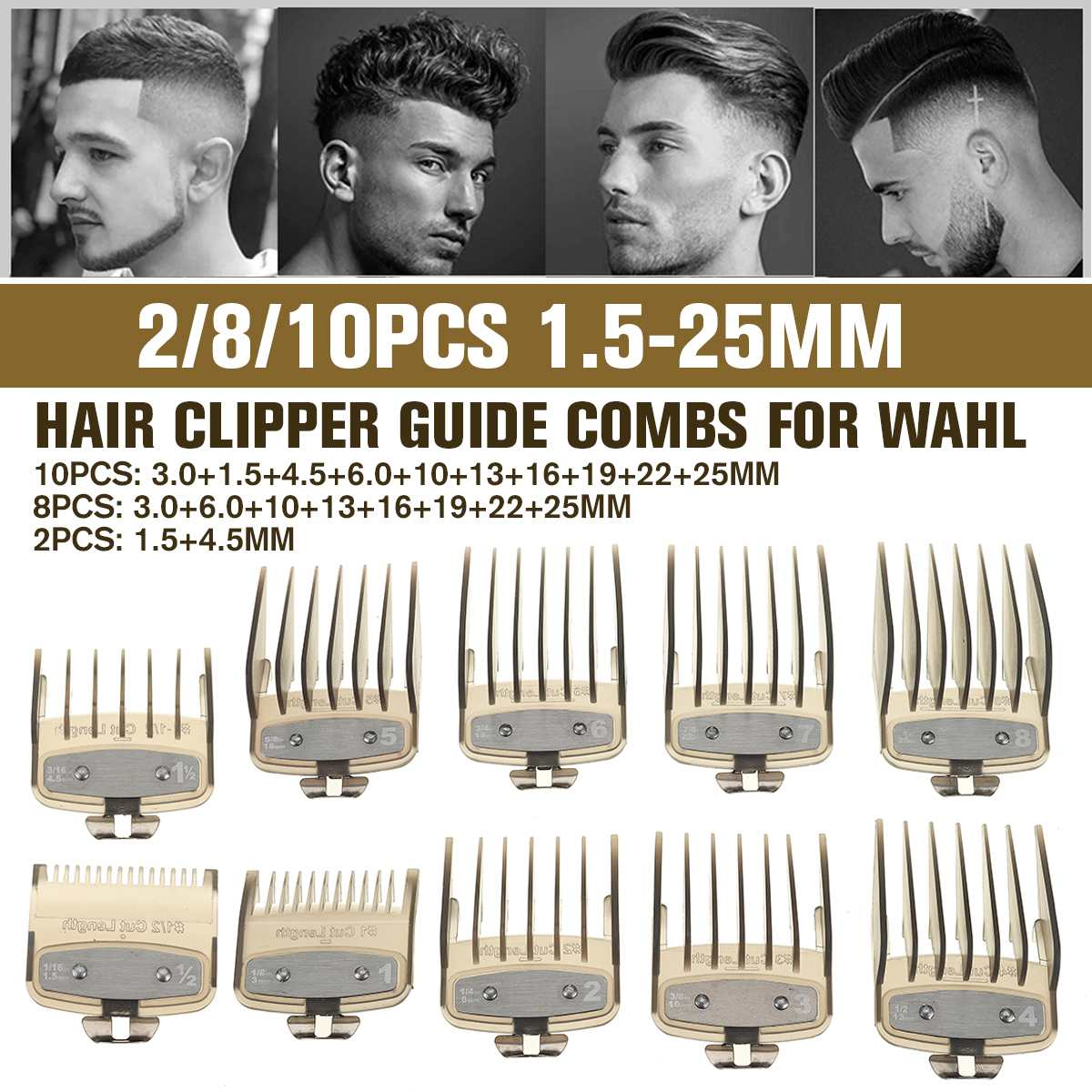 100/100/100Pcs Hair Clipper Cutting Guide Comb Guards 10.10-10010mm Limit Comb Tools  Kit for 10x3100mm Cutting Head Hair Clipper for WAHL