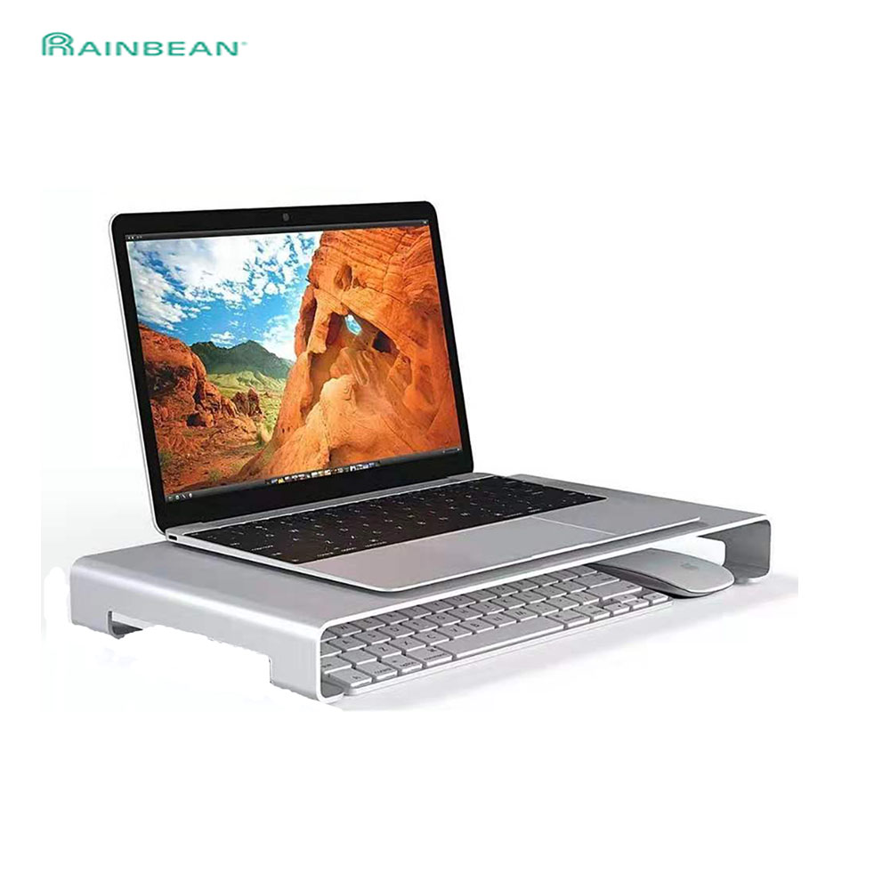 Laptop Table Computer Display Monitor Riser TV Stand With Keyboard Mouse Storage Slots Aluminum Alloy For Home Office Silver