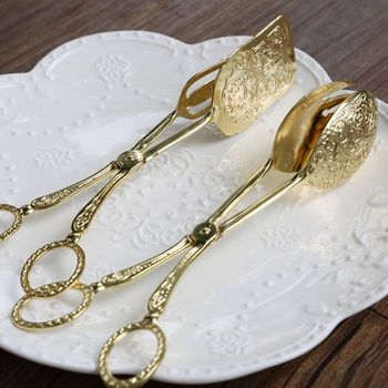 Food Tong Gold-plated Snack Cake Clip Salad Bread Pastry Clamp Baking Barbecue Tool Fruit Salad Cake Clip Kitchen Utensils