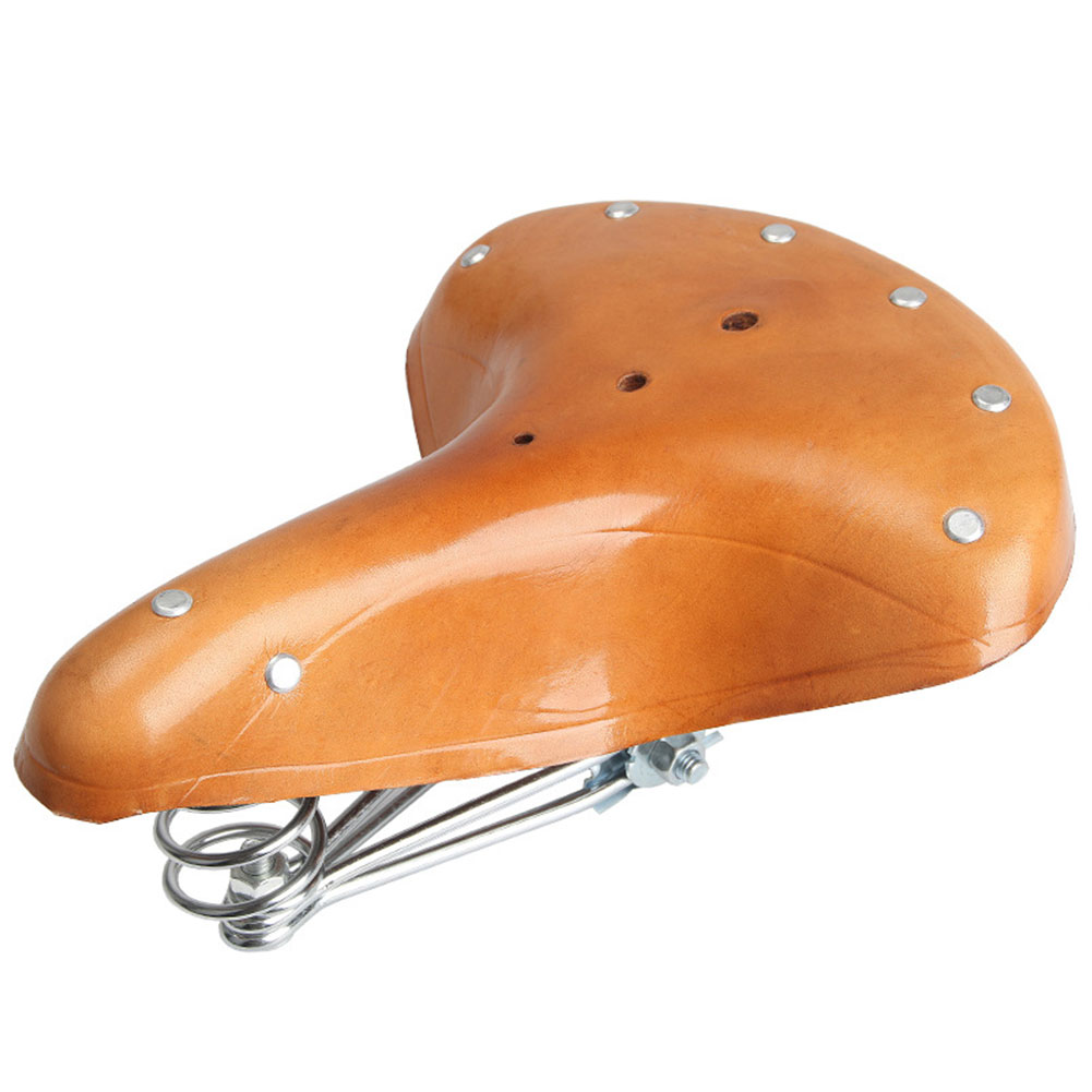 Shock Absorption Road Bike Bicycle Saddle Retro Leather Comfortable Spring Seat