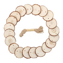 20pcs Round Wooden Pieces Fir Wood Cutouts Wooden Circles Embellishments Ornaments Unfinished Wooden Slices Crafts 10M Hemp Rope(China)