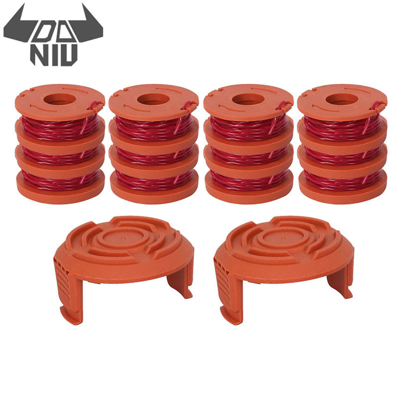 DANIU Grass Trimmer Head Spool Line String With Spool Coil Cap Cover For Worx WA0010 WG150 WG180