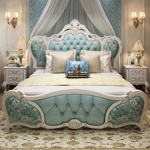 European-Style Double Bed Master Bedroom Modern Simple Princess Bed 1.8 M Leather Wedding Bed Light Luxury Furniture Set