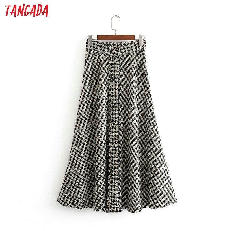 Tangada Female Plaid Midi Skirt Winter Elegant Office Ladies Fashion Thick Long Skirts For Women Faldas Mujer 3H01