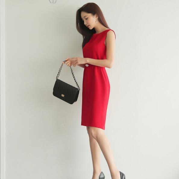Pencil Dress Women Summer Red  1