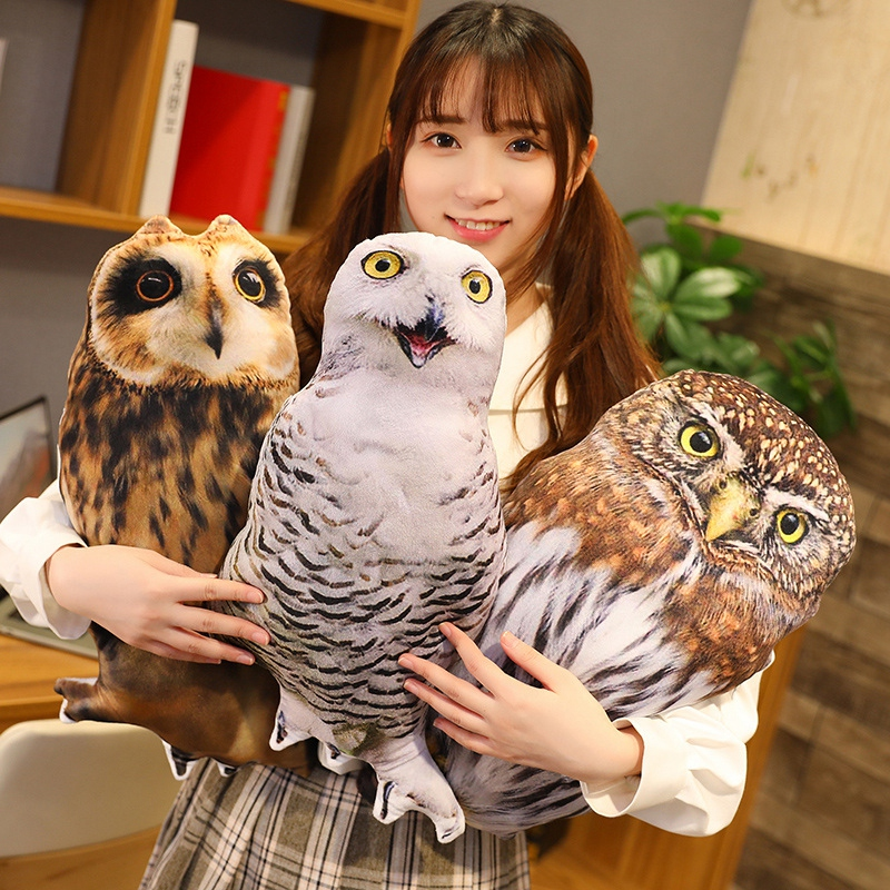 Sexy 50cm Simulation Plush Owl Sleeping Pillows Soft Stuffed Animals Eagle Cushion Sofa Decor Cartoon Bird Toys For Kids Gift