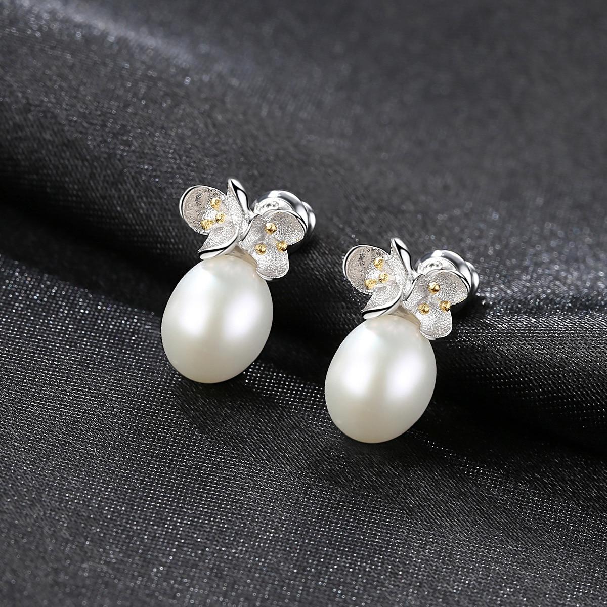 YUEYIN 925 Sterling Silver Earrings 8 9mm Real Pearl Earrings Korean Flower Earrings Simple Style High Quality Charming Hot Sale in Earrings from Jewelry Accessories