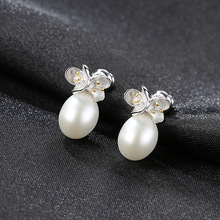 YUEYIN 925 Sterling Silver Earrings 8-9mm Real Pearl Korean Flower Simple Style High Quality Charming Hot Sale